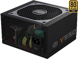 CM PW V550 80 PLUS Gold  90% Eff. SEMI-MODULAR RS550-AMAAG1-S1 DIMENSION 150 X 140 X 86MM INPUT VOLTAGE 90-264VAC (FULL RANGE) OUTPUT CAPACITY 550W CONNEC MB 20+4 PIN/CPU12V 4+4/PCI-E 6+2 PIN/SATAX8