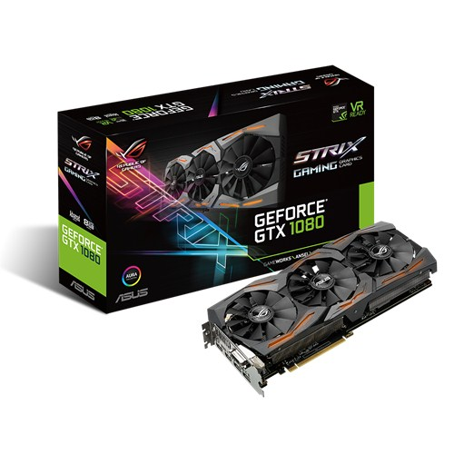 ASUS VC STRIX-GTX1080-A8G-GAMING, NVIDIA GEFORCE GTX 1080, PCI EXPRESS 3.0, OPEN GL 4.5, GDDR5X 8GB, MAX RESOLUTION 7680 X 4320, DVI, HDMI X 2, DISPLAY PORT X 2